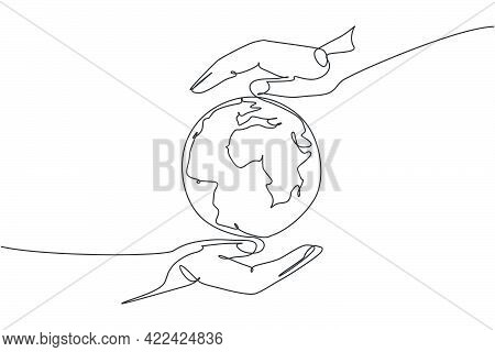 Hand Hold Globe Earth. Single Continuous Line World Global Map Graphic Icon. Simple One Line Doodle