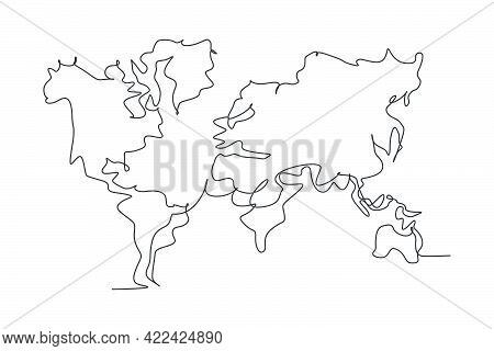 World Atlas. Continuous One Line Drawing Of World Map Minimalist Vector Illustration Design On White