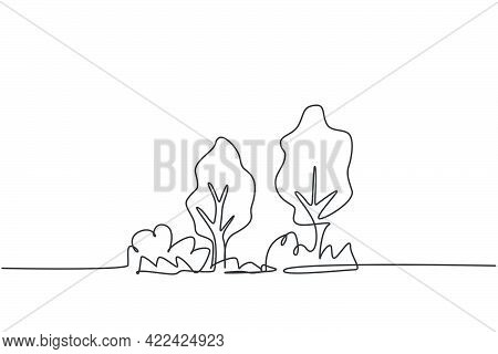 Continuous One Line Drawing Of Eco Green Tree With Bush For Garden Icon. Natural Ecology Park Logo H