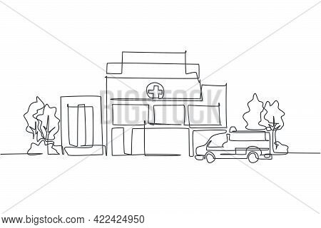 Single One Line Drawing Of Clean Hospital Building Construction. Medical Healthcare Infrastructure I