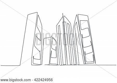 Continuous One Line Drawing Of Tall Skyscraper Buildings In Big City. Business Office Building Distr