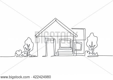 Continuous One Line Drawing Of Green Little House With Garden Trees At Village. Nature Home Architec