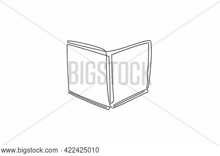Single Continuous Line Drawing Of Open Textbook For Publishing Company Logo Label. Educational Handb