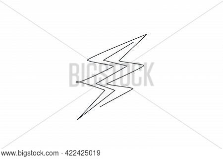 Single Continuous Line Drawing Of Light Thunder Bolt Logo Label. Power Up Energy Strike For Electric