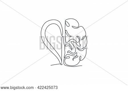 One Continuous Line Drawing Of Half Human Brain Half Love Heart Shaped Logo Icon. Psychological Affe