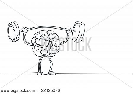 Single Continuous Line Drawing Of Strong Muscular Human Brain Lifting Barbell Logo Label. Fresh Smar