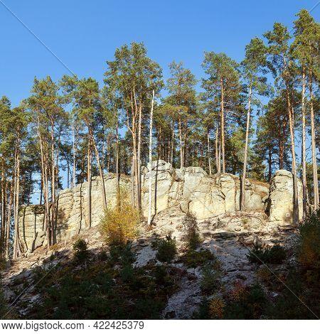 Mastale Rockies Or Toulovcovy Mastale Rock City Near Prosec Town, Sandstone Rockies In Czech Republi