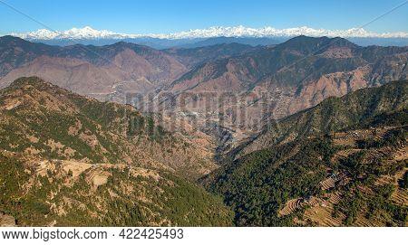 Mounts Chaukhamba And Bandarpunch, Himalaya, Panoramic View Of Indian Himalayas Mountains, Great Him