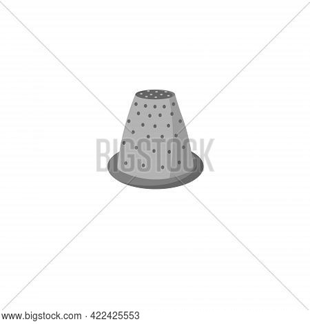 Thimble Illustration. Tool For Sewing And Protecting The Finger From The Needle. Card Template For U