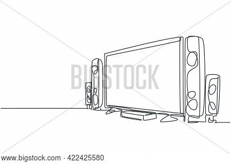 Single Continuous Line Drawing Of Luxury Expensive Home Theater With Great Speaker Sound System. Ele