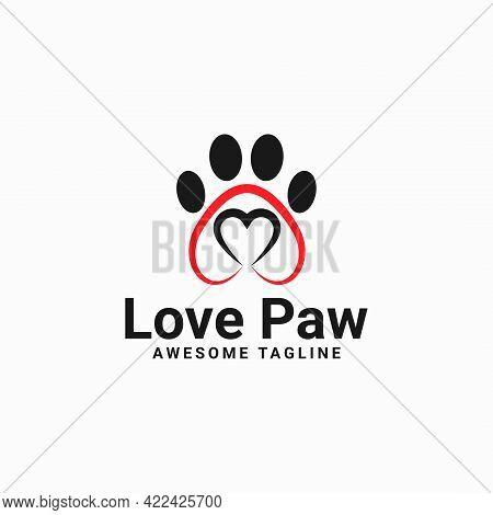Love Paw Logo. Paw Print Vector. Pet Logo. Animal Paw Print Illustration. Paw Print With A Heart Sym