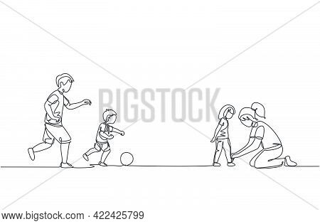 One Continuous Line Drawing Of Young Playing Soccer With Son At Field While Mother Tying Daughter's