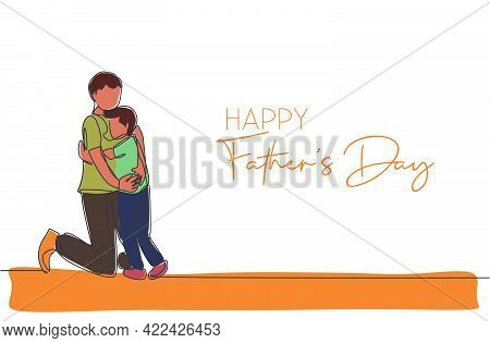 Single Continuous Line Drawing Of Young Father Hugging His Son Full Of Warmth. Happy Father's Day Co
