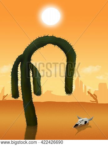 A Saguaro Cactus Droops And Withers In The Broiling Sunshine As A Drought Hits The Western Usa. This