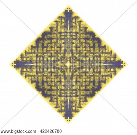 Handmade Violet Watercolor Linear Splash On Yellow Square Composed Of Four Triangles. Abstract Color