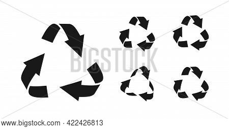 Set Of Black Silhouette Triangular Recycling Symbols. Icons Environmentally Friendly World. Sign Of