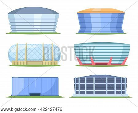 Front View Of Sport Stadiums In Cartoon Style. City Arena Exterior Illustration. Set Of Beautiful Mo
