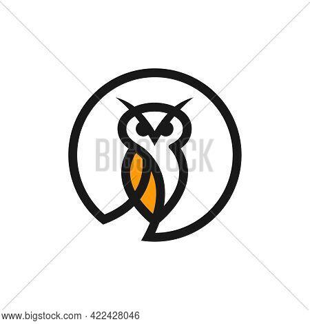 Modern Logo Design Circle Outline Owl Your Company