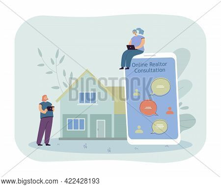 Online Consultation With Realtor. Female Character Sitting On Phone With Messages, House In Backgrou