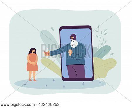 Online Crime Towards Children Vector Illustration. Criminal Man Pretending To Be Someone Else Offeri