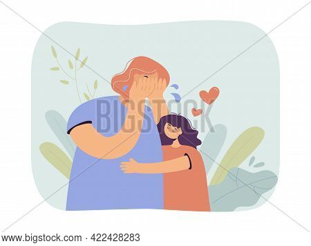 Daughter Hugging Crying Mother. Little Girl Soothing Crying Woman, Showing Her Love. Sad Situation.