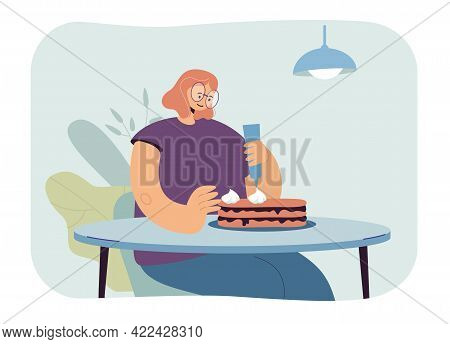 Woman Making Cake Vector Illustration. Young Female Character In Casual Clothing Making Cake, Housew