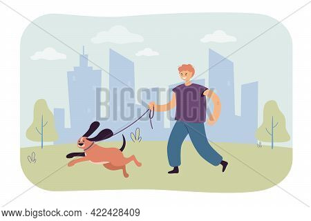 Man Walking With Dog Vector Illustration. Young Smiling Male Character Walking Puppy In Park. Vector