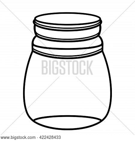 Round Glass Jar With A Lid. Empty Flask. Isolated Vector Icon On White. Bottle Outline. Silhouette O