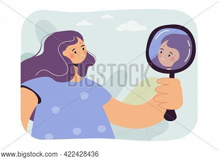 Woman Worried About Acne Vector Illustration. Displeased Female Character Looking At Herself In Mirr