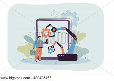 Artificial Intelligence Replacing Human Resources. Industrial Equipment In Digital Era Flat Vector I