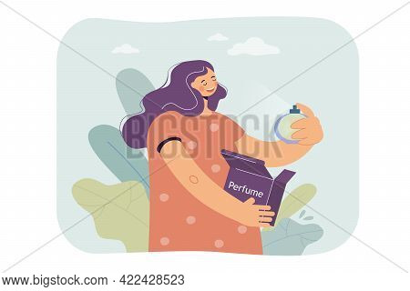 Woman Enjoying Perfume Vector Illustration. Young Woman Spraying, Smelling Cologne. Happy Girl Lovin