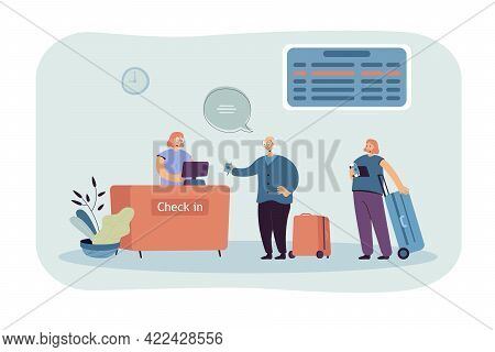 Elderly Man Checking In For Flight Vector Illustration. People Standing In Gate Registration Desk. F