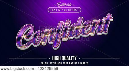 Editable Text Style Effect - Confident Text Style Theme. Graphic Design Element.