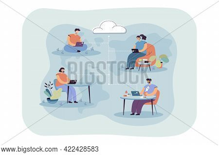 Team Of Employees Using Cloud System. Cartoon People Working On Laptops, Remote Work, Data Storage F
