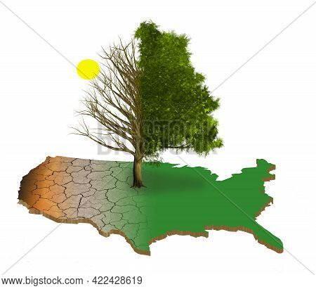 A Map Of The Usa Is Brown From Drought While The Eastern Half Is Green And Lush. A Tree, Bare On The