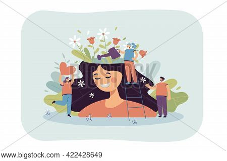 Happy Girl With Beautiful Mind. Cartoon Character Watering Flowers In Female Head, Healing Flat Vect