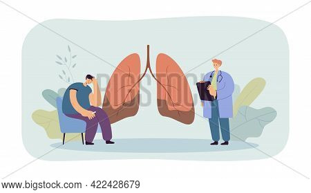 Doctor Telling Patient About Lung Disease. Medical Worker Vocalizing Diagnosis Of Lung Cancer To Wor