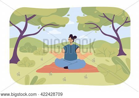 Calm Woman Forest Bathing. Female Cartoon Character Doing Yoga In Nature, Trees And Bushes Flat Vect