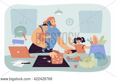 Busy Mom Holding Baby And Doing Tasks. Woman Working, Caring For Kids, Cooking At Home, Chaos Flat V