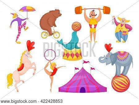 Circus Characters And Animals Vector Illustration. Clown, Acrobat, Gymnast With Hoop, Strongman, Tam