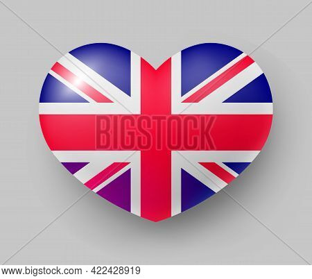 Heart Shaped Glossy National Flag Of Great Britain. European Country National Flag Button, Symbol Of