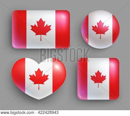 Set Of Glossy Buttons With Canada Country Flag. North America Country National Flag, Shiny Geometric
