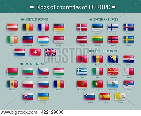 Set Of Flags Of Europe Countries Shiny Buttons. European States National Flags Of Rectangular Shape