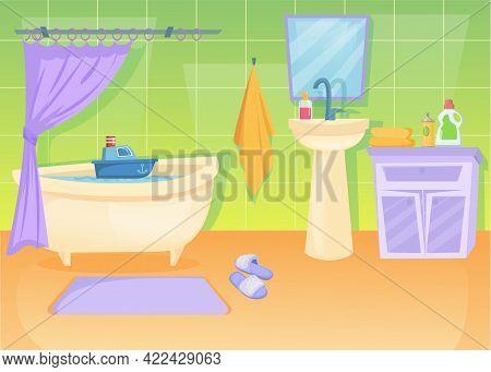 Cozy Bathroom Interior Cartoon Illustration. Sink, Towel, Bathtub Filled With Water, Mirror, Cabinet