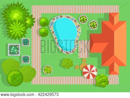 House With Swimming Pool And Garden Top View. Villa With Lawn, Bushes And Footpaths Flat Vector Illu