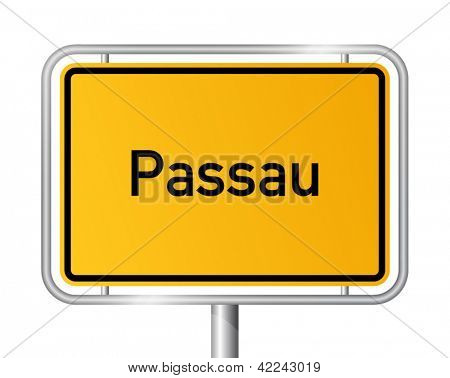 City limit sign Passau against white background - signage - Bavaria, Bayern, Germany
