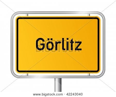 City limit sign Goerlitz against white background - signage - Saxony - Gorlitz, Sachsen, Germany