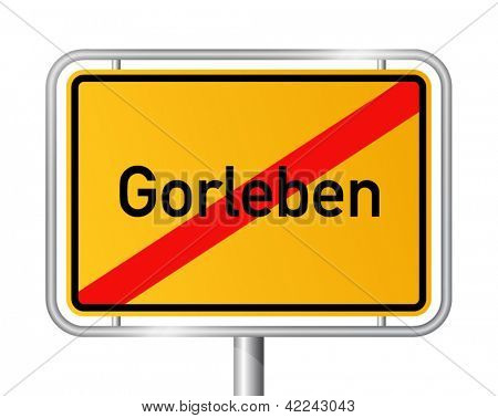 City limit sign Gorleben, radioactive waste store in Germany - anti-nuclear movement