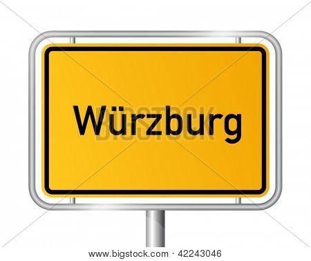 City limit sign Wuerzburg against white background - signage Wurzburg - Bavaria, Bayern, Germany