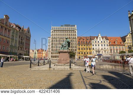 Wroclaw, Poland - July 09, 2018: Bronze Monument To Polish Poet And Playwright Alexander Fredro In W